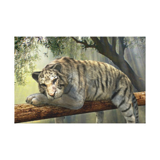 White tiger chilling in the jungle canvas