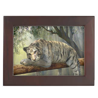 White tiger chilling in the jungle keepsake box