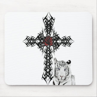 White Tiger & Cross Mouse Pad