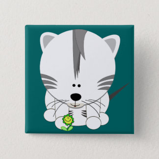White Tiger Cub 15 Cm Square Badge