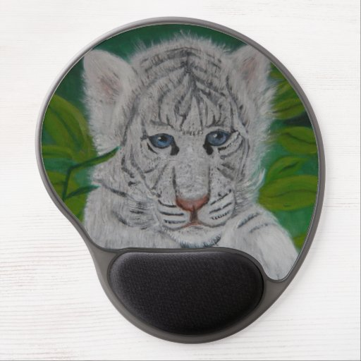 White Tiger Cub Gel Mouse Pads