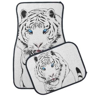 White Tiger Drawing Car Mat