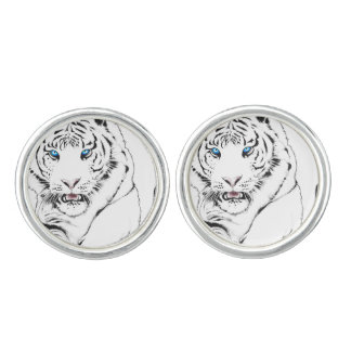 White Tiger Drawing Cufflinks
