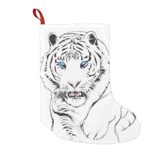 White Tiger Drawing Small Christmas Stocking