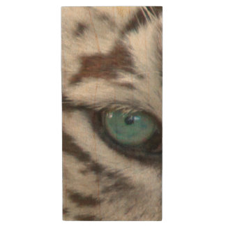White Tiger Eyes | Wildlife Photography Wood USB 2.0 Flash Drive