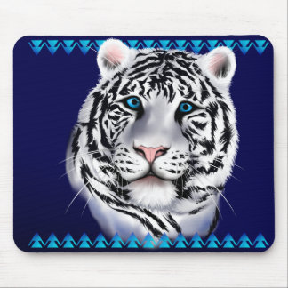 White Tiger Face Mousepad