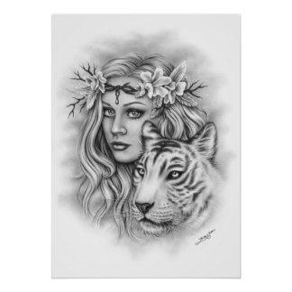 White Tiger Girl Spiritual Poster