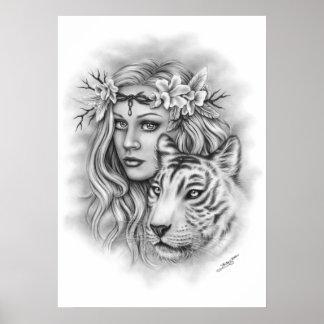 White Tiger Girl Spiritual Poster