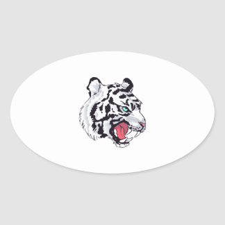 WHITE TIGER GROWL OVAL STICKER