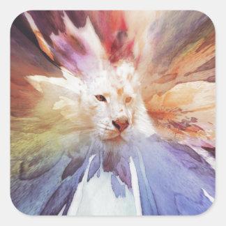 White Tiger Grunge Square Sticker