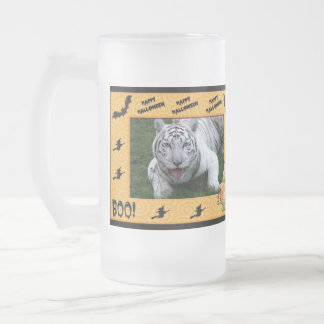 White Tiger Halloween Stein Frosted Glass Mug