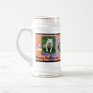 White Tiger Halloween Stein Coffee Mugs