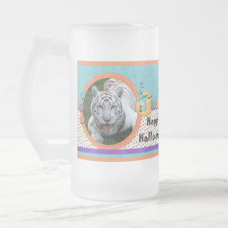 White Tiger Halloween Steins Frosted Glass Mug
