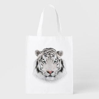 White Tiger Head Reusable Grocery Bag