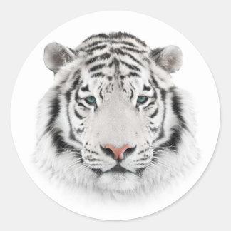 White Tiger Head Round Stickers