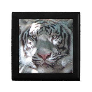 White Tiger Head Shot Small Square Gift Box