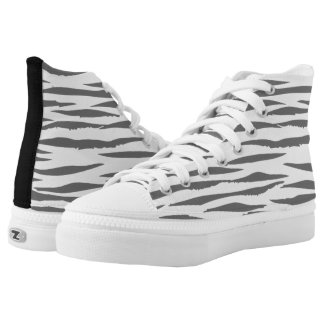 White Tiger high top tennis shoes Printed Shoes