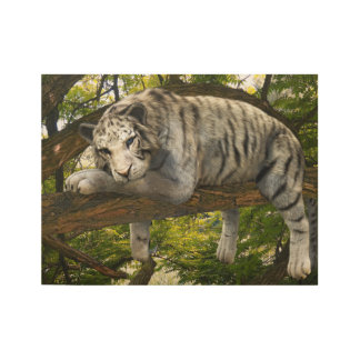 White Tiger Jungle Fantasy Rainforest Abstract Ink Wood Poster