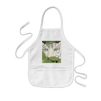 white tiger kids apron