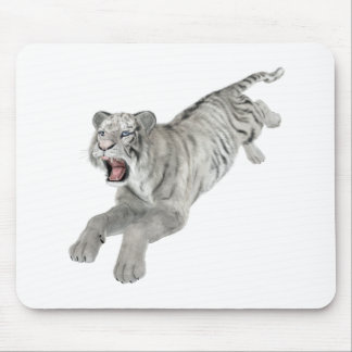 White Tiger Leaping Mouse Pad