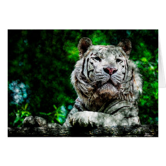 White Tiger Mixed Media Greeting Card