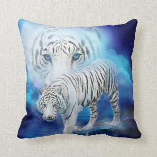 White Tiger Moon Art Designer Pillow