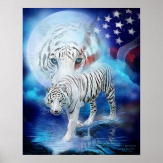 White Tiger Moon - Patriotic Art Poster/Print