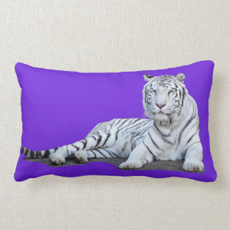 White Tiger on Purple Lumbar Cushion