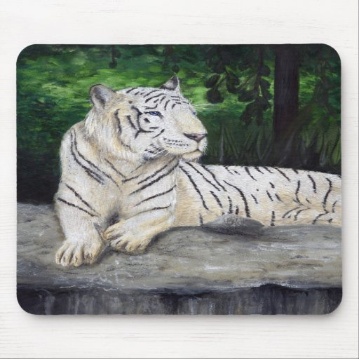 White Tiger painting by Ben Jones Mouse Pads
