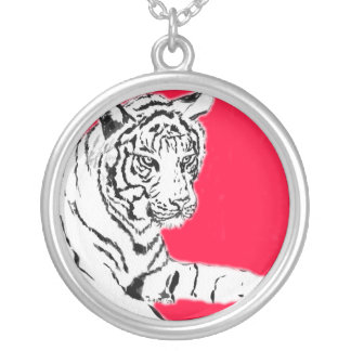 White Tiger Painting Silver Necklace