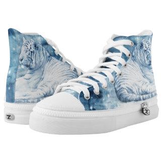White tiger photo galaxy print shoes