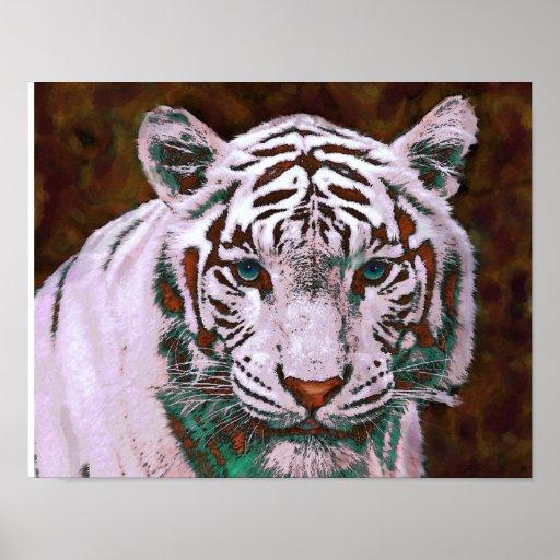 white tiger- pop art poster