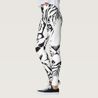 White Tiger Print Leggings