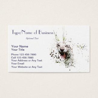 White Tiger Roaring Impressionist Art Albino Cat Business Card
