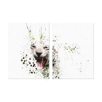 White Tiger Roaring Impressionist Art Albino Cat Canvas Print