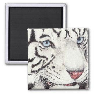 White Tiger Square Magnet