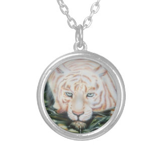 """White Tiger  """"The Swim"""" Silver Plated Necklace"""