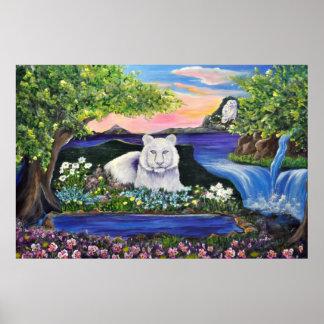 White Tiger Waterfall Poster