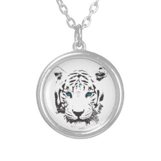 White Tiger with Blue Eyes Silver Plated Necklace