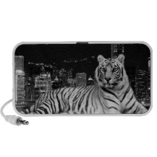 White TIger with City Backdrop iPhone Speakers
