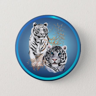 White Tigers -Buttons 6 Cm Round Badge