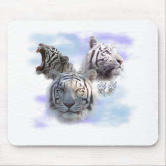 White Tigers Mouse Pads