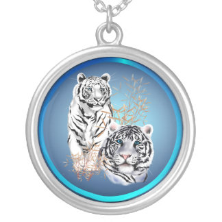 White Tigers -Necklace Silver Plated Necklace