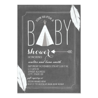 White Tipi + Feathers Baby Shower 13 Cm X 18 Cm Invitation Card