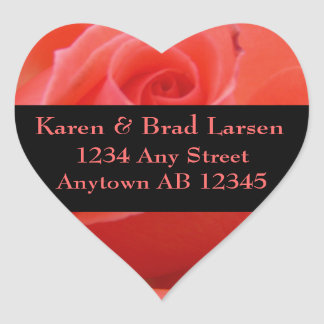 White Tipped Pink Rose Wedding Return Address Sticker