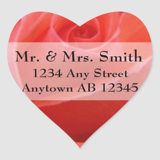 White Tipped Pink Rose Wedding Return Address Heart Stickers