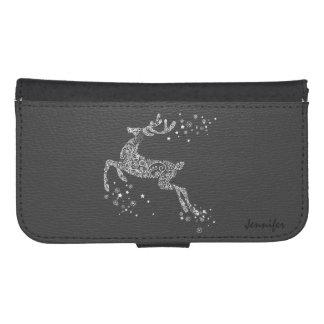 White Tones Floral Flying Reindeer Samsung S4 Wallet Case