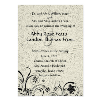 White Tooled Leather and Black Lace Wedding 13 Cm X 18 Cm Invitation Card