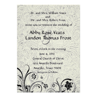 White Tooled Leather and Black Lace Wedding Invite