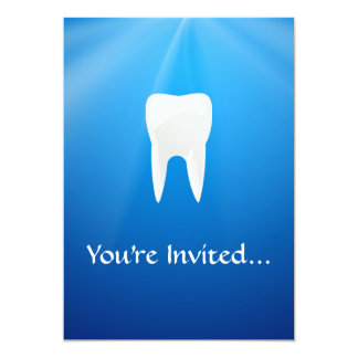 White Tooth on Blue Background Card